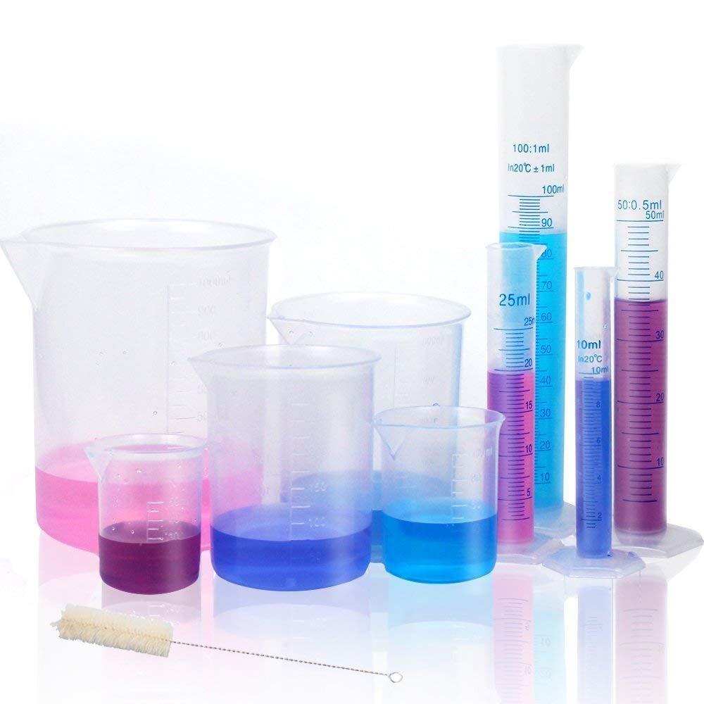 Laborchemie-Kit, Industriewissenschaft Kunststoff Messbecher Messzylinder Reinigungsbürste Reinigungsbürste Reinigungsbürste Laborbedarf B07PS9XTBK Messbecher & Mae 503d60