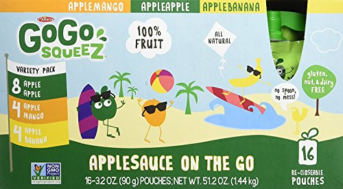 GoGo squeeZ Applesauce on the Go, Variety Pack (Apple Apple/Apple Banana/Apple Mango), 3.2 Ounce Portable BPA-Free Pouches, Gluten-Free, 16 Total Pouches