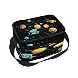 Use4 Universe Galaxy Solar System Black Insulated Lunch Bag Tote Bag Cooler Lunchbox for Picnic School Women Men Kids