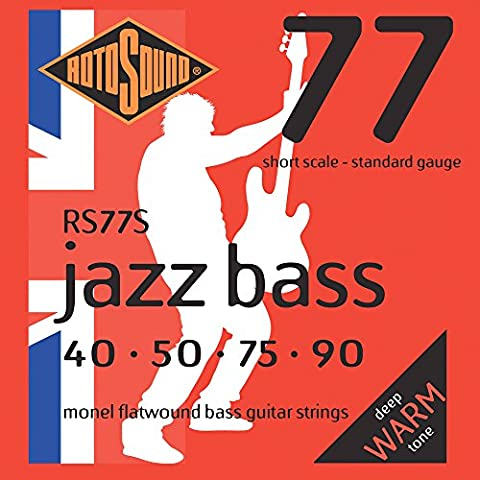 Rotosound RS77S Monel Flatwound Short-Scale Bass Guitar Strings (40 50 75 90) (Flat Bass Guitar Strings)