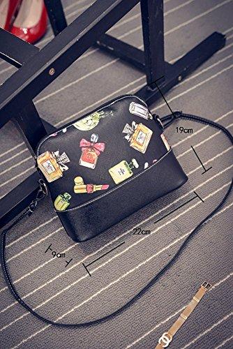 niceEshop(TM) Patrón de Flores de Cuero Bolsa de Mensajero de Crossbody Bolsos de Hombro para las Mujeres, Mariposa perfume