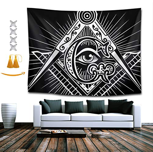 Gifts Gorgeous Lion Mountain (TERPASTRY Freemasonry Freemason Logo Design Indian Bohemian Tapestry Throw Wall Hanging Tapestries Hanging Wall Decor Beach Throw Table Cloth 60x70 Inch)