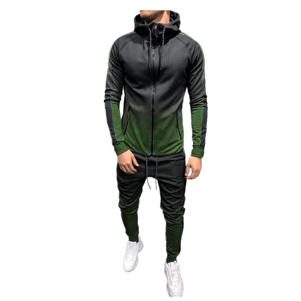 LEXUPA Mens Autumn Winter Packwork Print Sweatshirt Top Pants Sets Sport Suit Tracksuit(Green,XXX-Large)