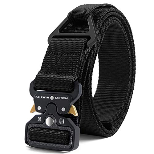 Fairwin Tactical Rigger Belt, Military Style 1.5 Inch Nylon Webbing Belt with V-Ring Heavy-Duty Quick-Release Buckle Mens Belt for Cargo Pants Jeans