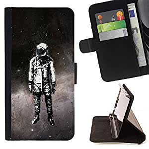 For Samsung Galaxy S5 V SM-G900 Space Suit Travel Man Astronaut Stars Art Painting Style PU Leather Case Wallet Flip Stand Flap Closure Cover