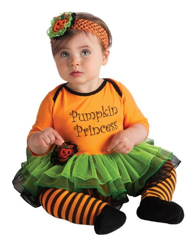 Rubies Pumpkin Infant Halloween Costume (Rubie's Costume My First Halloween Pumpkin Princess Tutu And Onesie, Orange, 6-12 Months)