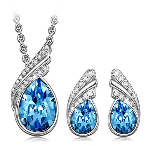 Qianse White Gold Plated Cable Chain Jewelry Set Made with Ocean Blue Swarovski Elements Crystal