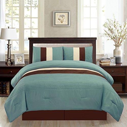 4 Piece QUEEN Size LIGHT SILVER BLUE / BROWN / BEIGE Pin Tuck Stripe Regatta Goose Down Alternative Comforter set 90