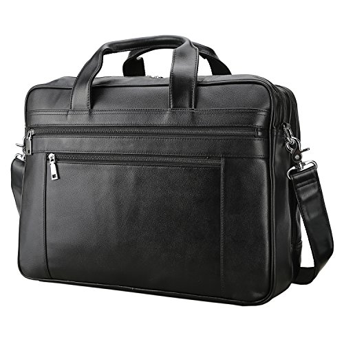 - Polare Men's Real Soft Napa Leather 17'' Briefcase Laptop Business Bag Black