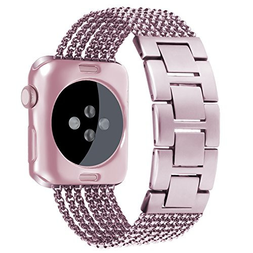 (Oitom Stainless Steel Replacement Wristband Straps Band with Plated TPU Protective Bumper Case for Apple Watch Series3,Series 1,Series 2,Apple Watch Edition(Rose Gold/Sakura Pink,42mm))