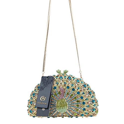 Bag Glitter Black Girls Clutch Crystal For Mint Evening Peacock Bonjanvye gw0vPqRR