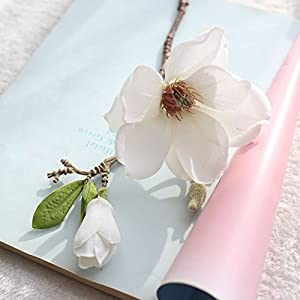 Wffo Artificial Flowers, Artificial Fake Flowers Leaf Magnolia Floral Wedding Bouquet Party Home Decor 70