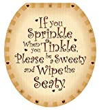 Toilet Tattoos, Toilet Seat  Cover Decal, Sweety Seaty, Size Round/standard
