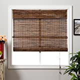 Single Piece Dark Brown Bamboo Shade, 63 inch Width x 98 inch length Shade, Window Blind, Includes Hardware, Stripe Pattern, Sun-Blocking, Roman Complementary Style, Use Inside & Outside Window