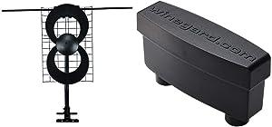 ClearStream 2V Indoor/Outdoor HDTV Antenna with Mount - 60 Mile Range & Winegard LNA-200 Boost XT HDTV Preamplifier, TV Antenna Amplifier Signal Booster, HD Digital VHF UHF Amplifier