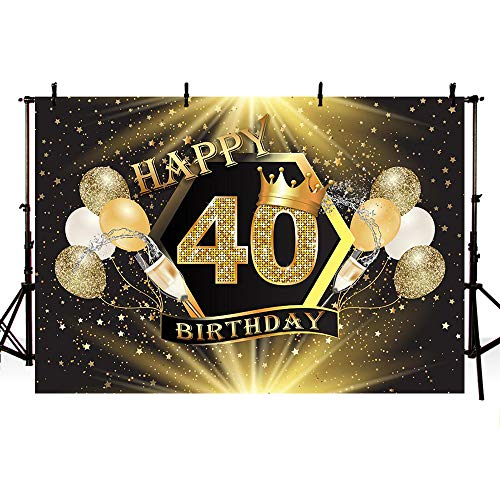 40th Birthday Backdrop (MEHOFOTO Glitter Gold Stars Black Crown Photo Background Gold Champagne Balloons Adult 40th Happy Birthday Party Banner Backdrops for Photography)