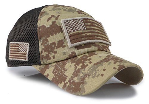 Camouflage Constructed Trucker Special Tactical Operator Forces USA Flag Patch Baseball Cap (Digital Desert) (Military Desert Camo)