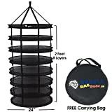 BUBBLEBAGDUDE Herb Drying Rack 2 FT 8 Layer Collapsible Mesh Hydroponic Hanging Dry Net with Carrying Bag - Perfect Accessory for Drying Plants & Herbs - Easy to Use & No Assembly Required