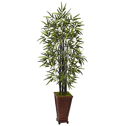 Nearly Natural Black Bamboo Artificial Tree, Green by Nearly Natural