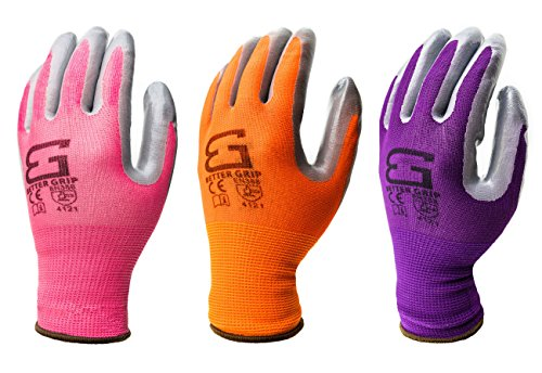 Better Grip BGS-GN1-10X Women's Garden Gloves, Premium Nitrile Palm Coated Gloves ( Assorted Color, Extra Large, 6 Pair Pack) -  RK Industries Group, Inc