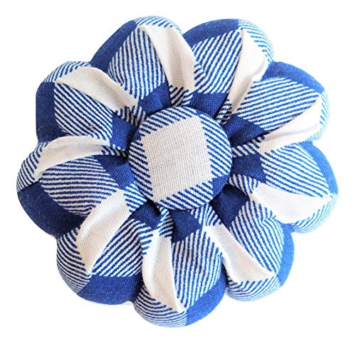 Navy Dark Blue White Buffalo Plaid Tartan Pin Needle Cushion Pincushion Cute Small Size Pumpkin Pins Needles Pincushions Holder Safety for Sewing Girl Women Gift Craft Handmade Quilting