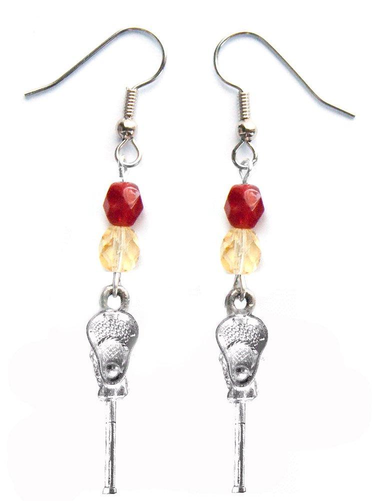 ''Lacrosse Stick & Ball'' Lacrosse Earrings (Team Colors Crimson & Gold)