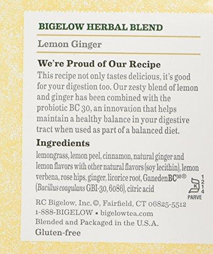 Bigelow Classic Lemon Ginger Herbal Tea Plus Probiotics 18 Bags (3 Pack) by Bigelow Tea (Image #3)