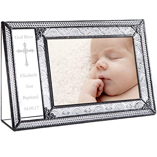(J Devlin Pic 393-46H EP590 Personalized Baptism Picture Frame Engraved Glass 4 x 6 Photo Christening Gift)