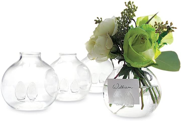 Two's Company Be Seated Bud Vases/Place Card Holder in Gift Box, Hand Blown Glass, Set of 4