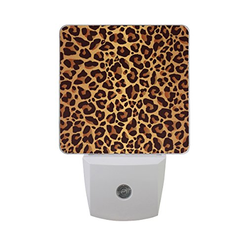ALAZA Animal Fur Leopard Print LED Night Light Dusk to Dawn Sensor Plug in Night Home Decor Desk Lamp for (Night Leopard)