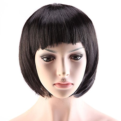 [Chic Short Straight Bob Wigs with Neat Bangs 7 Colors for Women Cosplay Costume Party Synthetic Heat Resistant Fiber (Black)] (Costume Wigs For Sale)