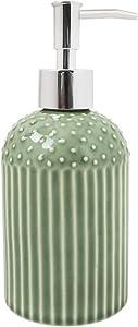 Chumbak Tropical Garden Soap Dispenser - Easy to Refill Pump Dispenser - Decorative Stoneware Bathroom décor, Countertop Liquid Soap Holder, Washroom Accessory - Size 3.1x3.1x7.3 inches (Green)