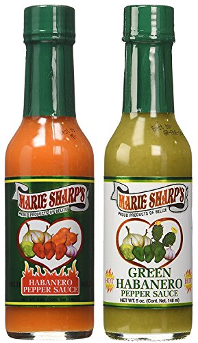 Marie Sharp's MILD and GREEN Habanero Pepper Sauce 5oz Combo (Pack of 2)