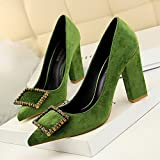 GAOLIM Sparkling Party For Water Drilling Single Shoes Female Autumn Luxury Green Tip Of The High-Heel Shoes Shallow Mouth Thick With Shoes,37, Green