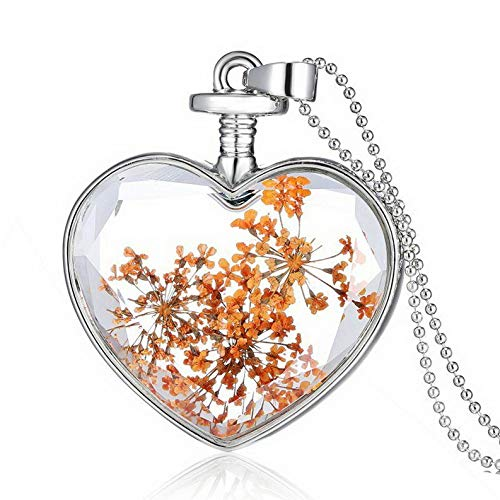 Kaputar Fashion Heart Dried Flower Glass Bottle Pendant Necklace Woman Party Jewelry New | Model NCKLCS - 18116 |]()