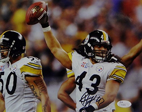 Troy Polamalu Signed Steelers 8x10 Holding Ball In Air Photo- JSA Certified Auth (Troy Polamalu Hand Signed)