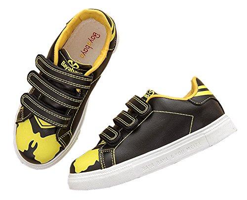 VECJUNIA Kinder Klassisch Kontrast Farbe PU Leder Laufschuhe Jungen Mädchen Sport Sneakers Schwarz