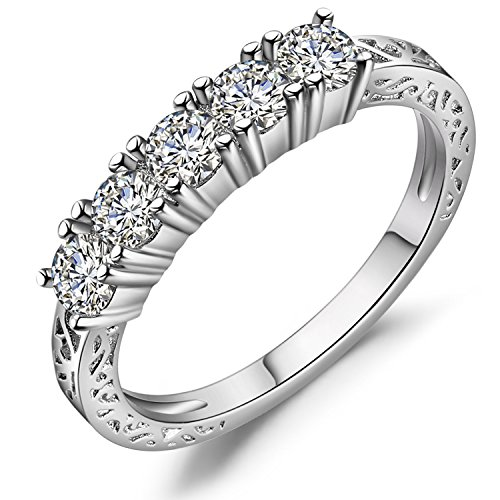 5 Stones Prong (Vibrille Sterling Silver and Cubic Zirconia Five Stone Anniversary Wedding Band Ring for Women Size 9)