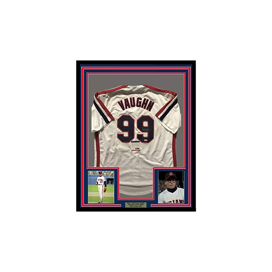 Framed Autographed/Signed Charlie Sheen Ricky Vaughn 33x42 Major League Cleveland Baseball Jersey PSA/DNA COA
