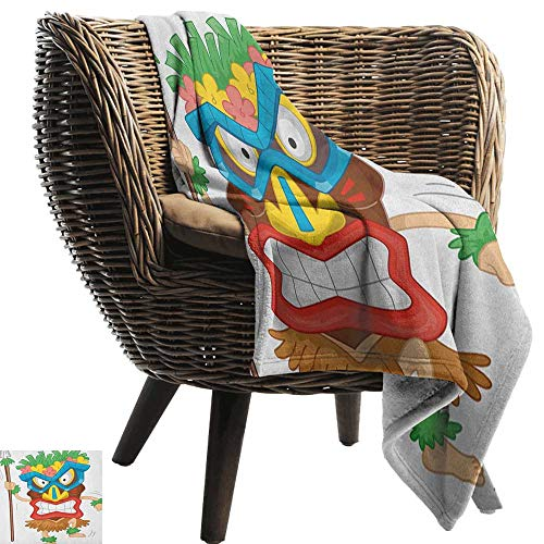 AndyTours Baby Blanket,Tiki Bar,Native Man Wearing a Mask Illustration Cartoon Tribal Costume Primitive Ritual, Multicolor,Super Soft Light Weight Cozy Warm Plush Hypoallergenic Blanket 35