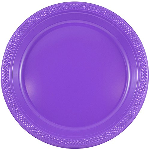 JAM PAPER Round Plastic Party Plates - Small - 7 inch - Purple - 20/Pack (Cake Royalty Plate)