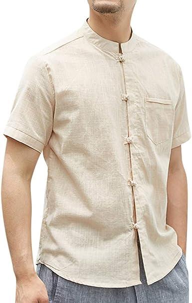 Camisa Hombre Verano Manga Corta Color sólido Retro Camiseta ...