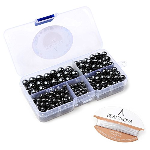 BEADNOVA 4-10mm Natural Hematite Gemstone for Jewelry Making (340pcs)
