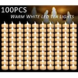 Micandle 100pcs Warm White Flickering Flashing Battery Operated LED Tea Lights Candles, Unscented Small Flameless Tealight Candles For Wedding, Party, Festival Decoration,Yoga and Votive Holder