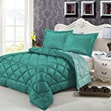 Swiss Comforts Hand Crafted Contemporary Style Luxurious Brushed Velvet Cover Goose Down Alternative Fill Reversible Comforter Set with 2 Shams, Full/Queen Size, British Green/Viridian