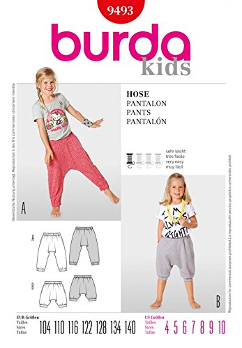 Burda Children\'s Easy Sewing Pattern 9493 - Harem Pants Ages: 4-10 ...