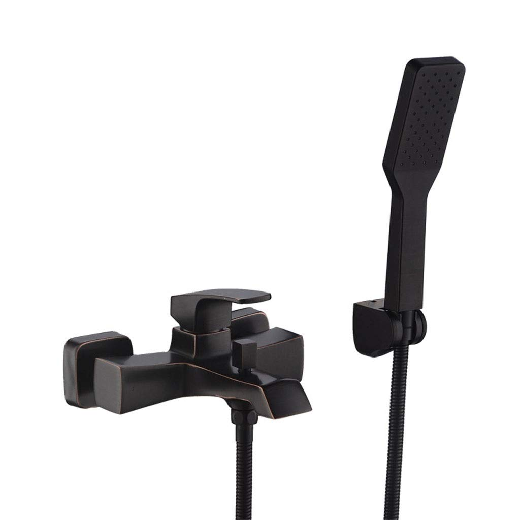 Faucet Black Antique Simple Shower Set Copper Bathroom Bathroom Shower Bathtub Mixing Valve (Color : Black)