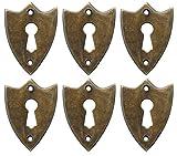 NDC Sheild Keyhole Escutcheons Brass Set of 6