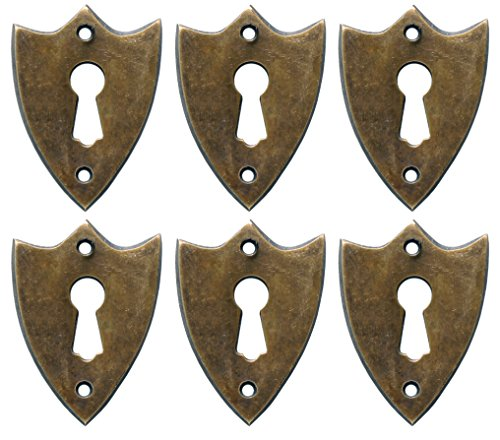 NDC Sheild Keyhole Escutcheons Brass Set of -