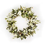 FAVOWREATH Vitality Series FAVO-W31 Handmade 16 inch Milk White Daisy Wildflower Dry Branch Wreath For Spring/Summer/Fall Season Festival Celebration Home Front Door/Wall/Fireplace Floral Hanger Decor